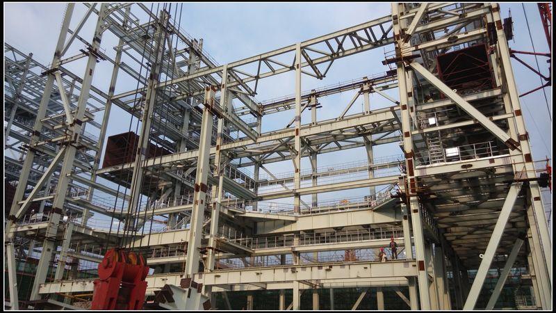 三公司承建的贵州华润六枝电厂2号锅炉钢架第四层